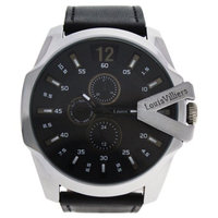 Louis Villiers Lvag8912-21 Silver/Black Leather Strap Watch Watch For Men 1 Pc