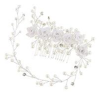 Fityle Chic Flower Pearl Crystal Hair Comb Hair Vine Wedding Bridal Bridesmaid Hair Accessory