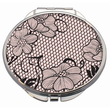 Lace Romance Compact Mirror with Pink Leatherette Pouch