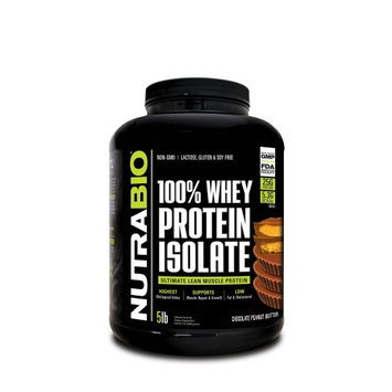 Nutra Bio NutraBio Whey Protein Isolate Powder, Chocolate Peanut Butter, 5 Lb