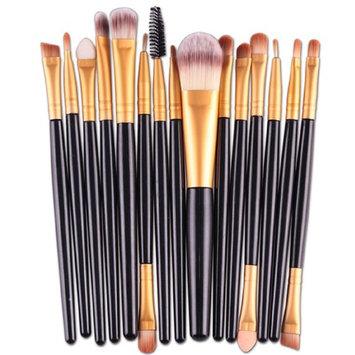 15 pcs/Sets Eye Shadow Foundation Eyebrow Lip Brush Makeup Brushes Tool (Black)