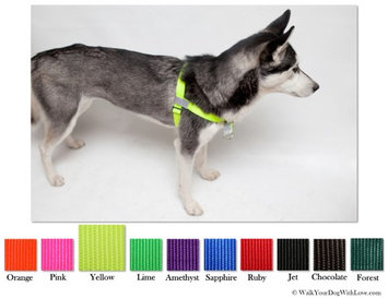 Walk Your Dog With Love No-Choke No-Pull Front-Leading Dog Harnesses, Sport Edition, Sizes From 5 to 250 lbs, Solar Yellow