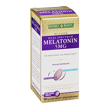 2 Pack - Nature's Bounty Dual Spectrum Bi-Layer Melatonin 5 mg, 60 Tablets Each