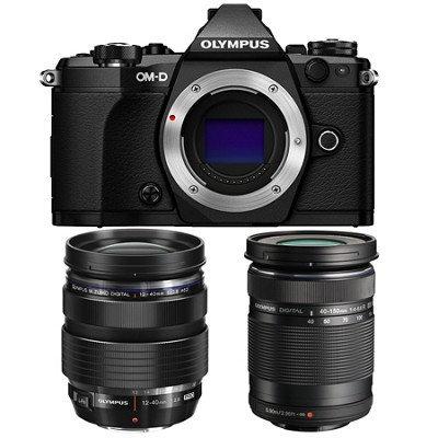 Olympus OM-D E-M5 Mark II Black Digital Camera with 12-40mm and 40-150mm Lens Bundle