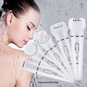 5 in 1 Electric Hair Removal Epilator Lady Shaver Callus Remover Face Cleansing Brush Facial Massager Rechargable Beauty Tool Trimmer Hair to 0.5mm White
