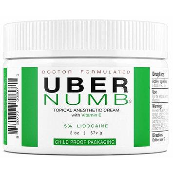 Uber Numb (2 oz) 5% Lidocaine Pain Relief Cream, Lidocaine Ointment, Numbing Cream-Child Resistant Cap