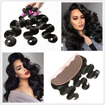JiSheng Brazilian Body Wave Virgin Human Hair 3 Bundles With Lace Frontal Closure Natural Color (20 22 22 +18)