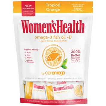 Coromega Women's Health Omega-3 Fish Oil +D, Tropical Orange, 30 Ct