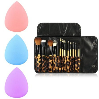 12 Pcs Makeup Brush Set Powder Foundation Brush Tool by Zodaca Blush Blending Eyeliner Highlighter Cosmetic Professional Brushes Tool Kit Case Bag + 3x Makeup Sponge Blender Flawless Droplets
