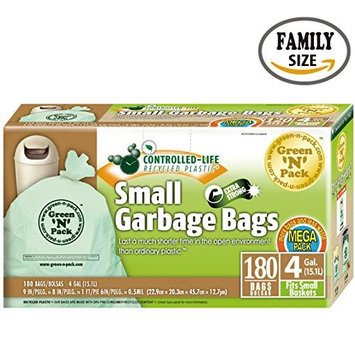 Green'N'Pack 4-180 Small Garbage Bags, 4 Gallon, 180-Count,