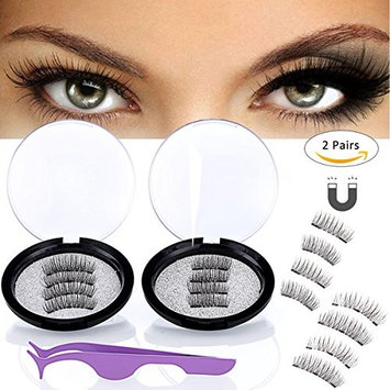 Magnetic Eyelashes 3 or 2 Magnets Magnetic Lashes Natural Eye Magnetic Fake Lashes Ultra Thin Magnet Eyelashes 3D False Eyelashes 2 Lash Magnet with applicator(2 Sets)