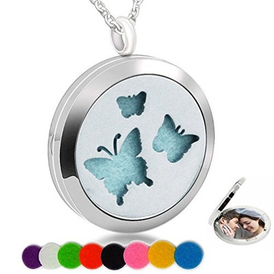 Essential Oil Necklace Aromatherapy Diffuser Butterfly Stainless Steel Photo Locket Pendant for Women