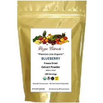 Virgin Extracts (TM) Pure Premium Organic Freeze Dried Blueberry Powder Extract 4:1 Concentrate (4 X Stronger) Superfood 8oz Pouch