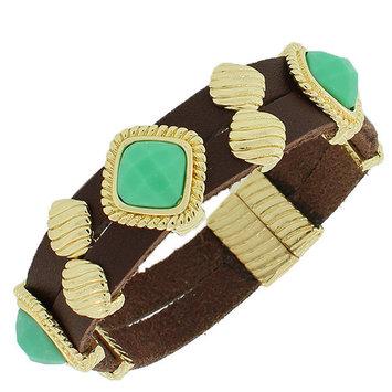 Fashion Alloy Brown Faux PU Leather Yellow Gold-Tone Green Wristband Bracelet