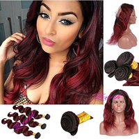 Zenith Ins Style Wine Red Body Wave 360 Lace Frontal Wigs for Black Women Pre Plucked Burgundy Human Hair Bundles with 360 Lace Closure Wig with Black Roots 12