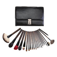 Makeup Brush Set 22 Pcs Cosmetic Brushes for Lip Eyeshadow Foundation Contour Eyebrow PU Leather Case