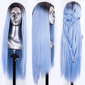 Persephone Blue Lace Front Wig Straight Middle Part Long Ombre Synthetic Wigs for Women