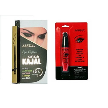 PREFIX Eye Express Soft KohI Kajal With Insight Smudge Proof Mascara With Volume and Lash Extension