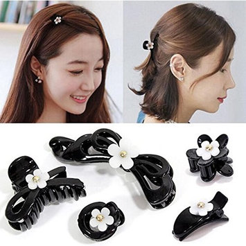Pack of 5 Daisy Design Hair Clips Plastic Hair Claws Pins Clamps for Girls and Women Makeup (Black)