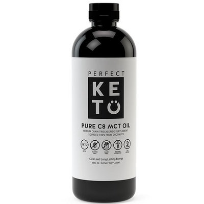 Perfect Keto C8 MCT Oil: 100% Pure Caprylic Acid Liquid Coconut Oil Fat Source as Keto Coffee Creamer. Ketones Best as Ketogenic Diet Supplement. Low Carb Ketone Octane for Brain