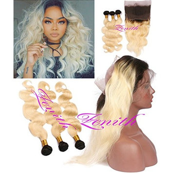 Zenith Best 613 Hair Bundles3 + Brazilian 8A Virgin Human Hair Body Wave Ombre Blonde 360 Lace Wig Shoulder Length Weave Blonde Hair Bundles Blonde Wig with Baby Hair (12