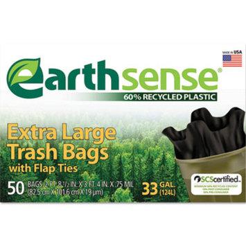 Large Trash Bags, 33gal, .75mil, 32.5 x 40, Black, 50 Bags/Box, Sold as 1 Box, 50 Each per Box