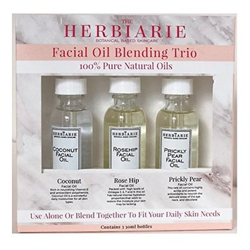 The Herbiarie - Set of 3 Coconut, Rose Hip, and Prickly Pear Facial Oil Blending Trio - Botanical Based Skincare - 100% Pure Natural Oils (Use alone or blend together to fit your daily skin needs)