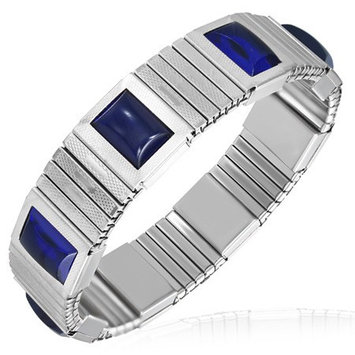Feshionn Iobi Cobalt Blue Cabochon Japanese Magnetic Therapy Stainless Steel Stretch Link Bracelet Stainless Steel