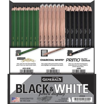 General's Generals 1587776 Black & White Pencil Display Set of 84