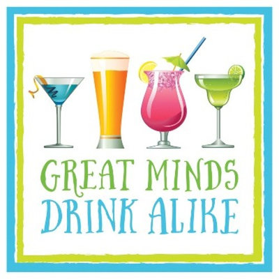 16ct Great Minds Drink Alike Cocktail Beverage Napkins