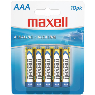 Maxell 723810 Alkaline Battery AAA Cell 10-Pack [AAA 10 pk]