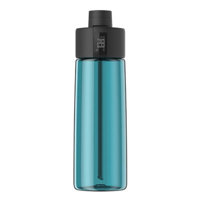 TechComm Bocombi Smart Water Bottle with Zephair Hydration Tracking, Smart Straw Technology and Hydration Reminders for Hot and Cold Non-Carbonated Drinks - Blue