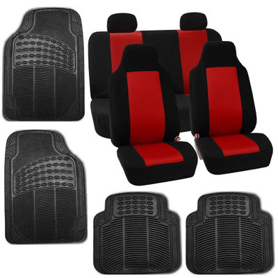 Car Seat Red Covers Set for Auto w/Floor Mat