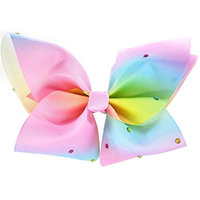 Girls Large 8'' Rainbow Boutique Hair Bow with Rhinestones Hair Clips