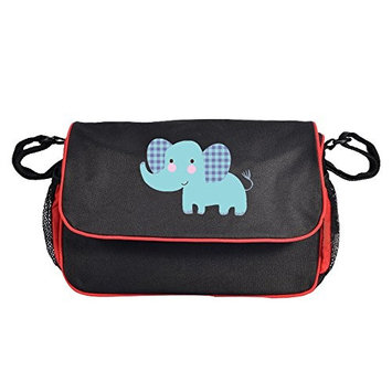 Baby Stroller Organizer Diaper Bag,Moisture-proof Baby Stroller Bag with High-capacity for Bottle, Diapers, Clothing, Toys, Cellphone Black Elephant
