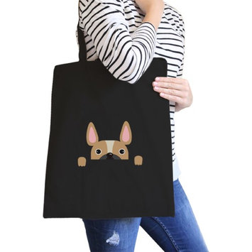 365 Printing Inc French Bulldog Peek A Boo Black Canvas Bag Gift For Dog Lovers