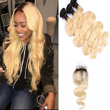 Human Hair Extensions with 4x4 Lace Closure Body Wave 1B/613 Blonde Ombre Bundles Dark Roots 2 Tone