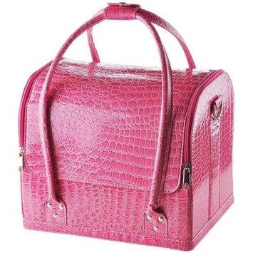 Professional Pink Crocodile Print Soft PVC Cosmetic Makeup Artist Train Case
