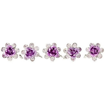 20Pcs Bridal Hair Pins, U-Shaped Pearl Rose Flower Rhinestone Crystal Hair Clips Barrette for Prom Party Wedding Bridal Bridesmaid Jewelry Hair Accessories (Purple) - Happy Hours