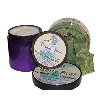 Extreme Crepey Skin Body & Face Cream & Exfoliating Sugar Scrub Set, With Hyaluronic Acid, Alpha Hydroxy and More (Frosted Lime Cupcake Scent))
