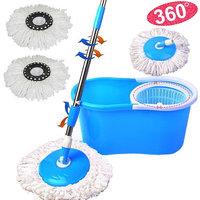 Ktaxon Microfiber Magic Mop with Bucket 2 Heads Rotating 360Easy Floor Mop 4 Color