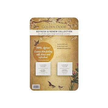 Golden Door Refresh & Renew Collection, Bamboo Face Scrub, Peel-Away-Masque, gold mask, hyaluronic acid, peel off mask, exfoliate dead skin, brighten and firm skin