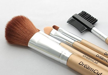 DreamCut 5 Piece Makeup Brush Set with Gold Pouch (Pack of 6)