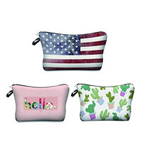 Zohra Women's US Flag Printed Cosmetic Bag Cheap Multifunction Travel Makeup Case 3Pcs/Set (US flag)