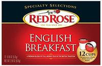 Red Rose English Breakfast Tea - 12 Single Serve Cups