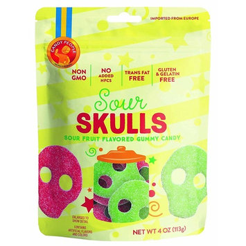 Candy People Sour Skulls Gummy Candy 4 Ounce Resealable Pouch – Non-GMO, Gluten-Free and Gelatin-Free - 5 Bags [Sour Skulls]