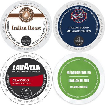 Faro Roasting Houses Italian Roast K-Cup 96 Count Variety Pack-Barista Prima, Lavazza Classico, Timothy's Italian Blend, and Faro Italian Blend