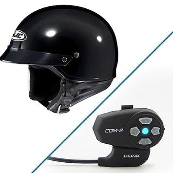 HJC CS-2N Gloss Black Half Helmet with Hawk COM-2 Bluetooth Intercom Bundle