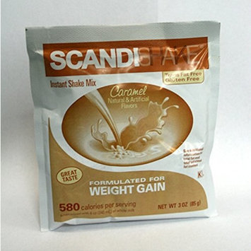Scandishake Instant Shake Mix for Weight Gain Caramel Flavor 3oz Packets 4ct