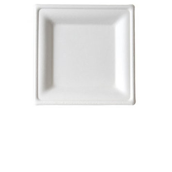 Eco-Products EP-P021 Renewable & Compostable Square Sugarcane Plates, 6-inch Dinner Plate, (Case of 500)